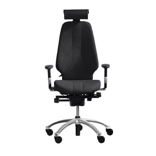 RH Logic 400 Elite ergonomic office chair in black with arms and head rest.