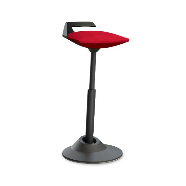 Aeris Muvman stool with a red seat and black base.