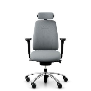 RH Logic 200 ergonomic chair in grey with arms and head rest.