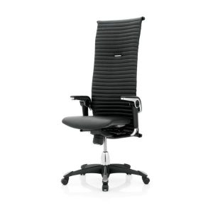 Hag Excellence 9331 office chair in black with a high back, black base, height adjustable arms.