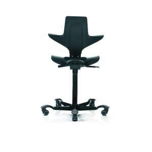 Hag Capisco Puls 8010 chair with saddle seat in black with black base.