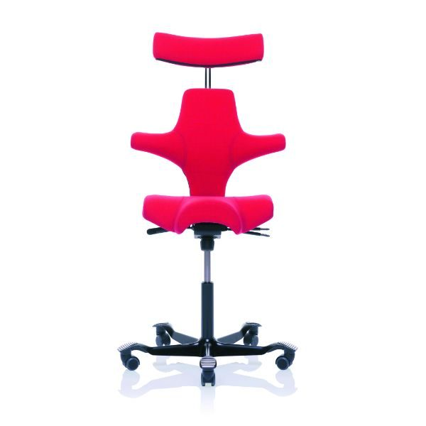Hag Capisco 8107 chair with head rest in Red with black base