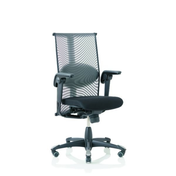 Hag Inspiration 9221 office chair, mesh back, lumbar support, height adjustable arms and black base.