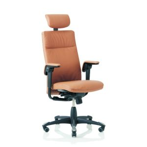 Hag Tribute 9031 office chair in leather with height adjustable arms, head rest and black base.