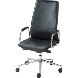 Sven HBB1HA chair with polished aluminium base leather upholstery