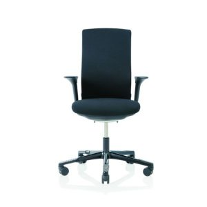 Hag Futu office chair with height adjustable arms and black base.