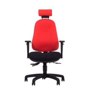 Ergochair zento fit chair red back with headrest and black base.