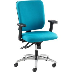 Sven G1 Office chair with height adjustable arms and polished aluminium base.