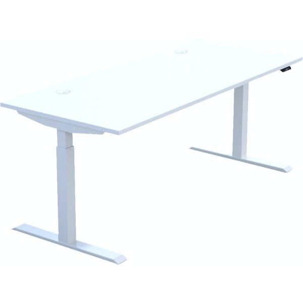 Height adjustable desk with white top white legs