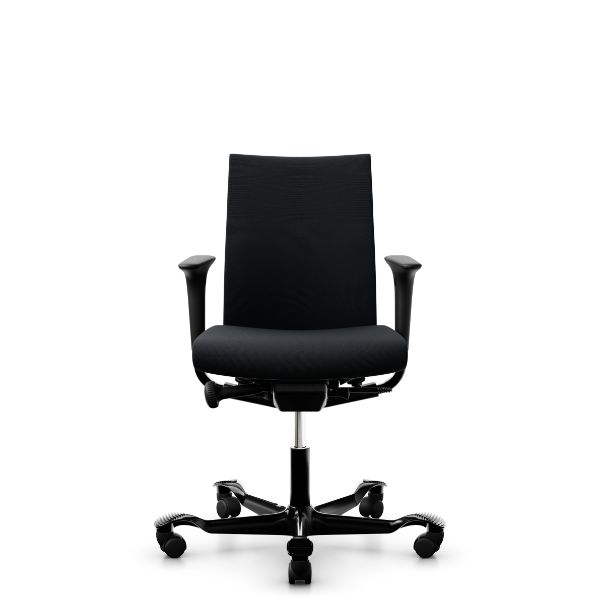 Hag creed chair in black with black base and swing back height adjustable arms