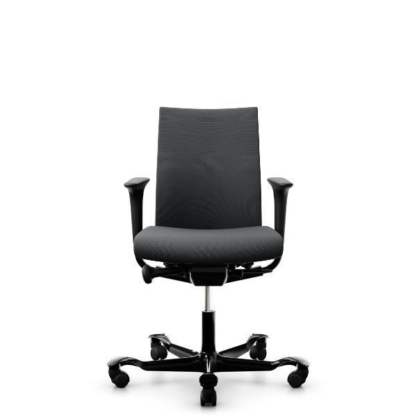 Hag Creed 6004 chair in grey fabric black base swing back arms