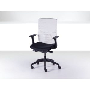 J2 office chair white plastic mesh back black fabric seat