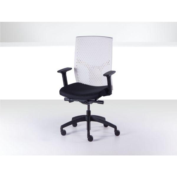 J2 office chair white plastic mesh back black fabric seat