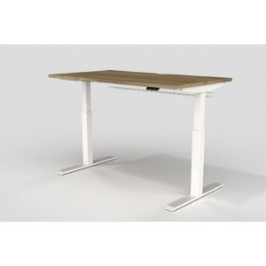 Height adjustable desk with natural halifax oak top white legs