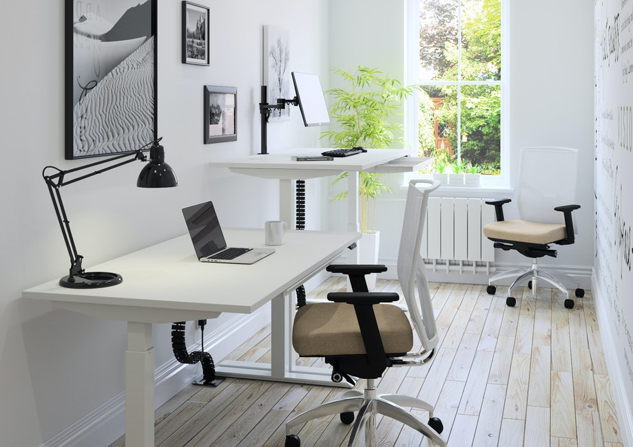 HiRise desk with white top and legs.