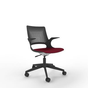 Fuzion chair in black with red seat