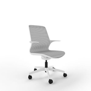 Vizion chair white shell light grey mesh
