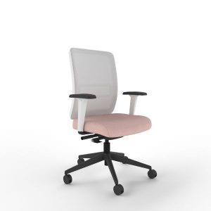 Neon office chair white frame grey mesh, arms with black base