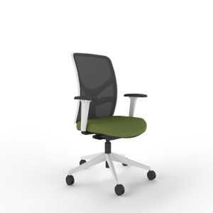 i-Con office mesh back chair with white frame