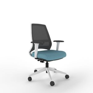 i-con plus chair with white frame and height adjustable arms