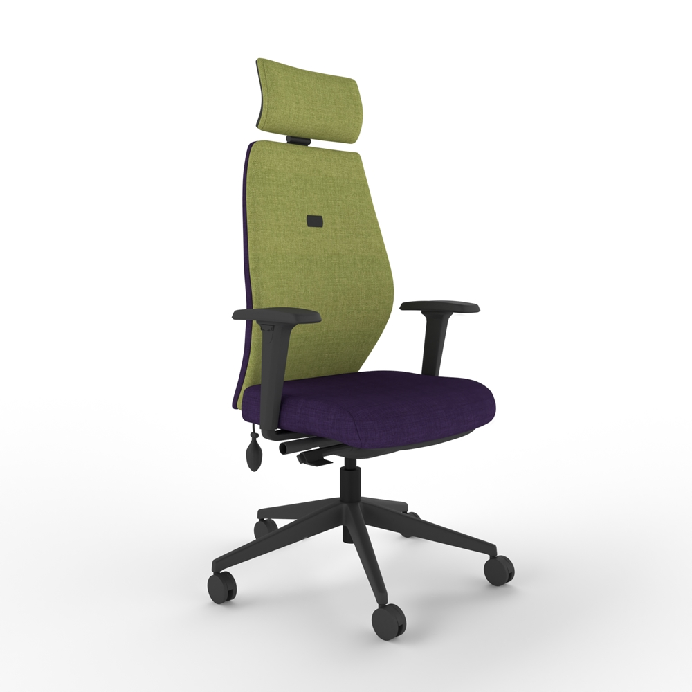 i-con move chair with head rest arms and high back