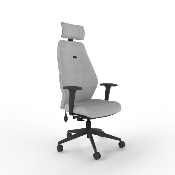 i-con tec chair with arms and headrest.