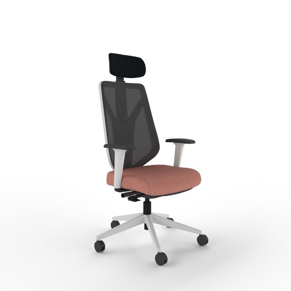 i-con ultima chair with white frame arms and headrest.
