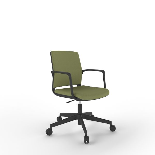 Rhuba lite with upholstered back with black base and arms